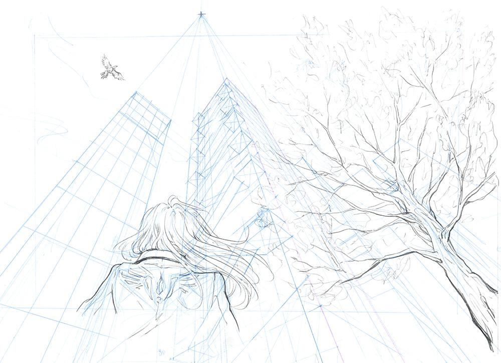 Exemple de dessin en perspective à 3 points de fuite : mise au propre