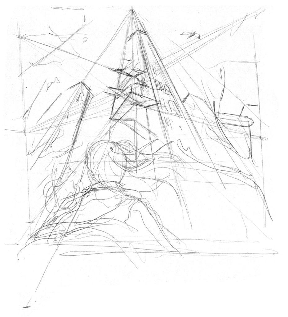Croquis de recherche pour un dessin en perspective à 3 points de fuite.