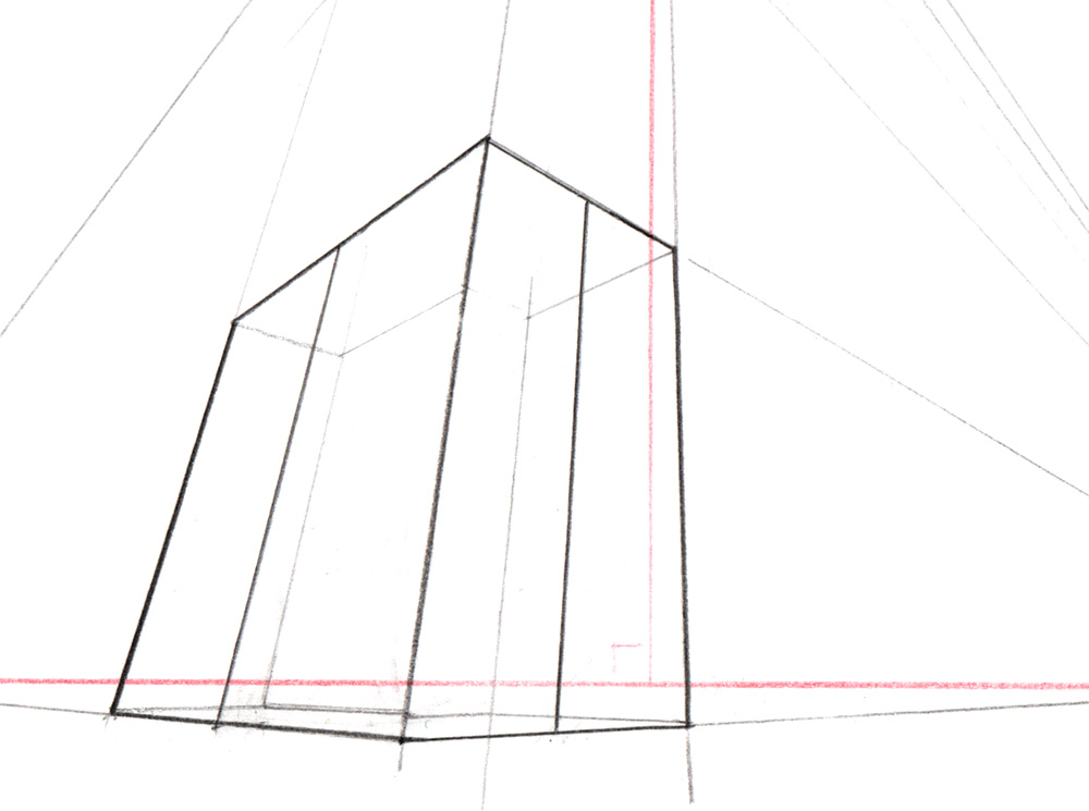 Exemple de construction simple d'une perspective à 3 points de fuite.