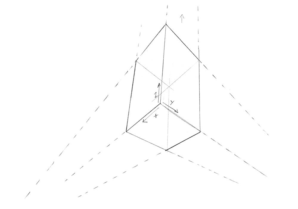 Exemple simple de perspective à 3 points de fuite