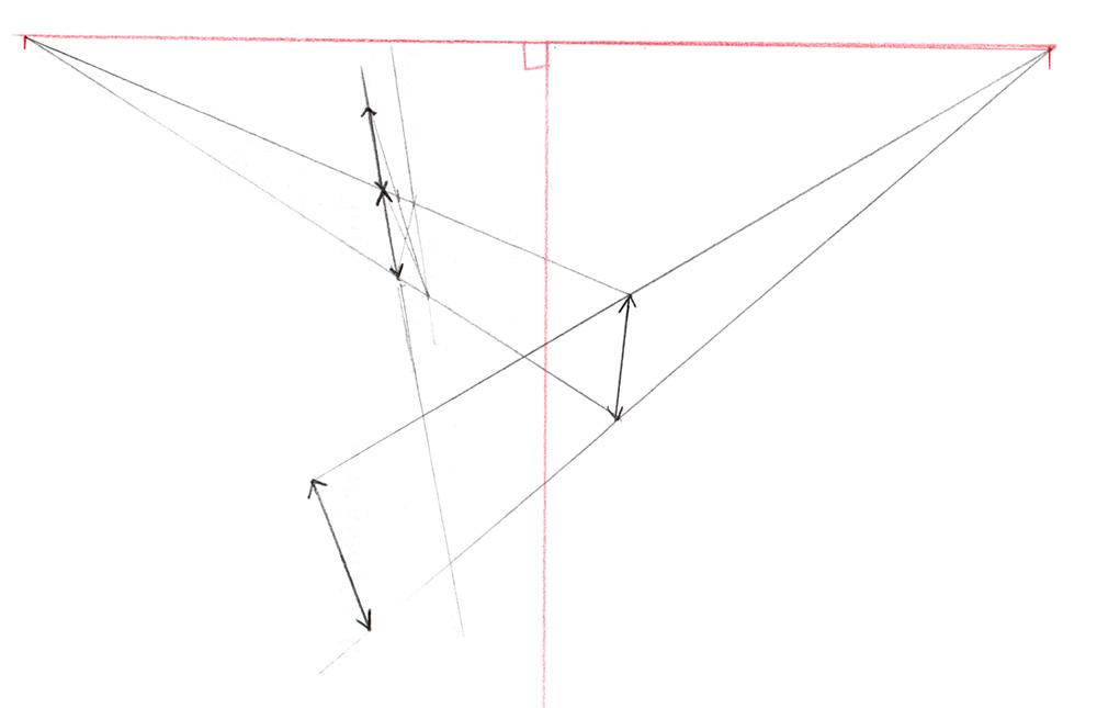 Faire circuler une hauteur en perspective à 3 points de fuite.