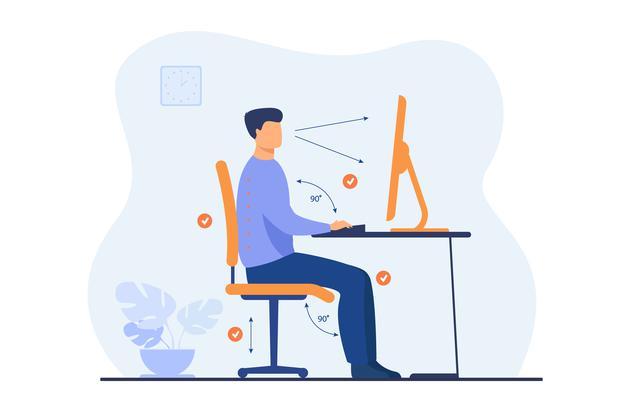 Comment ranger son atelier de dessin instruction pour pose correcte pendant illustration plate travail bureau travailleur dessin anime assis au bureau bonne posture pour dos bonne sante regardant ordinateur 74855 14087