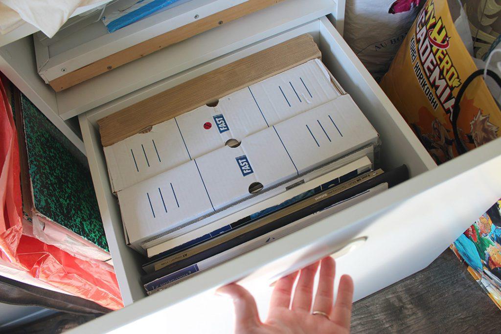 Stockage des formats A3 dans un meuble à tiroir