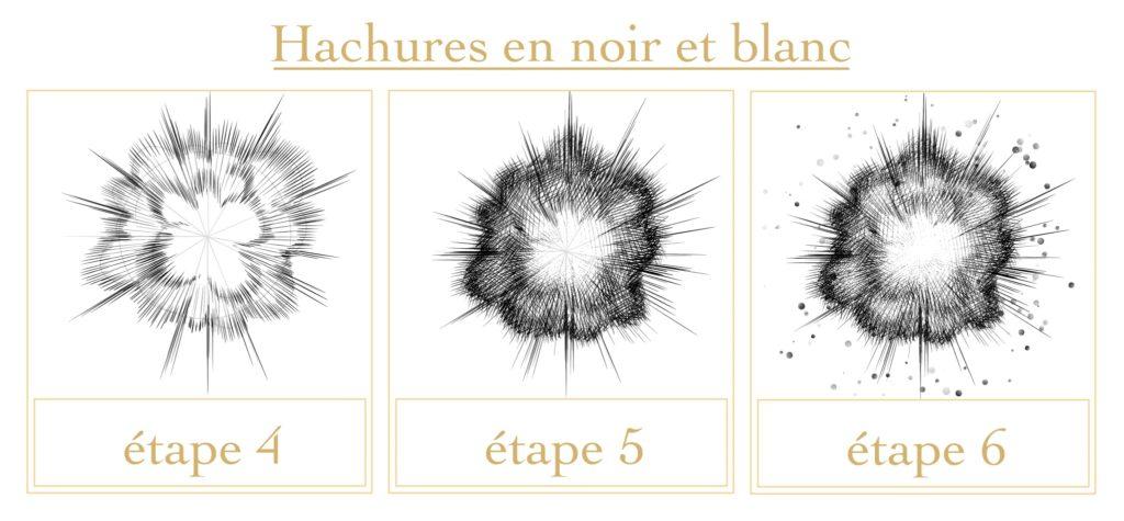 Tutoriel explosions : hachures en noir et blanc